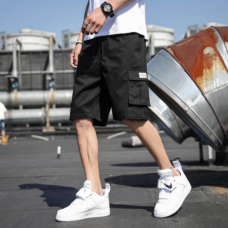 工装短裤男夏季薄款运动宽松五分裤纯色休闲潮流韩版外穿沙滩裤子