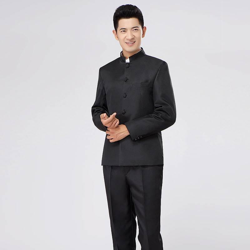 Chinese mountain dress standing collar mens suit slim fit solid color youth suit Chinese bridegroom dress stage host dress