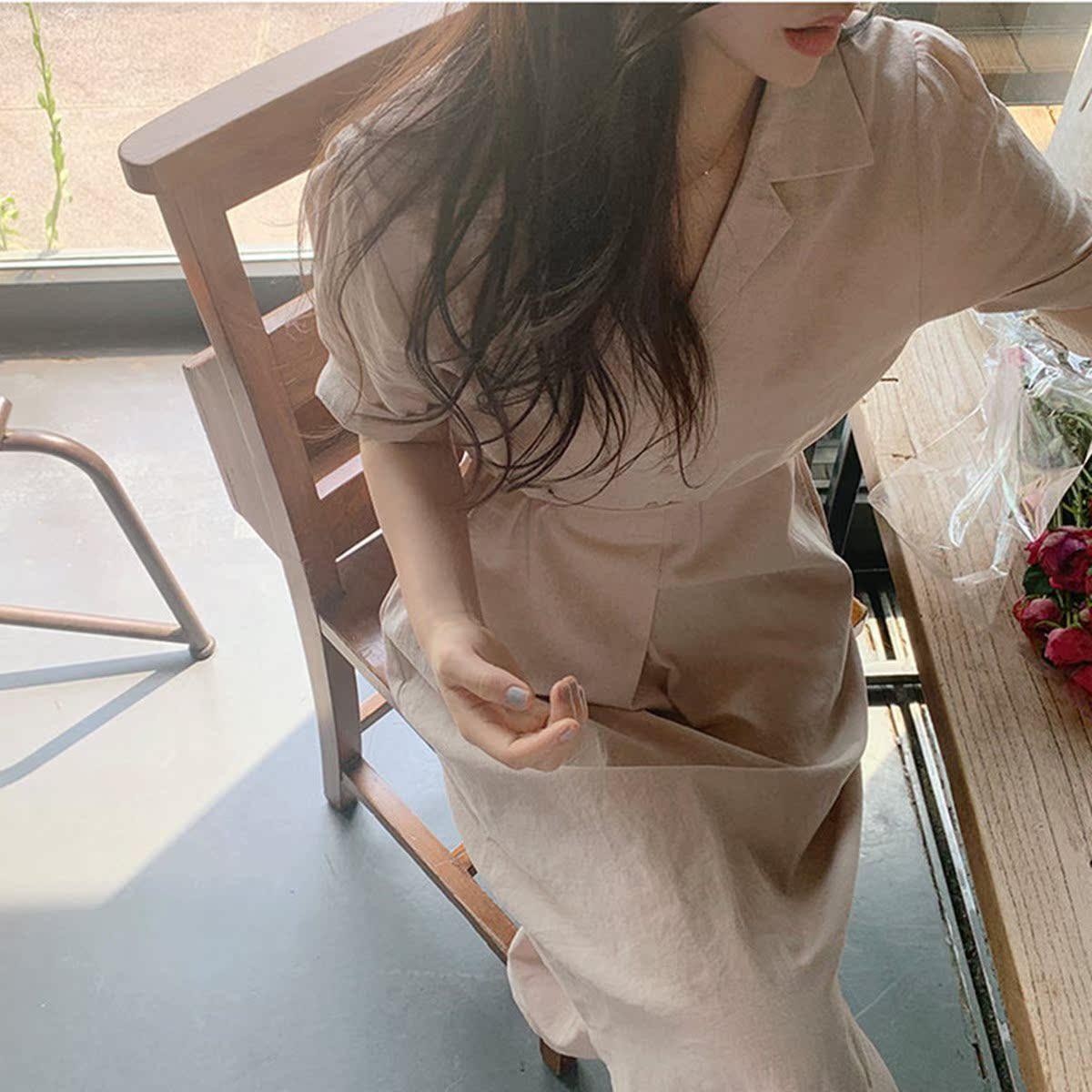 Simple solid color pants shirt skirt womens summer lazy waist show thin temperament super xiansen gentle style dress