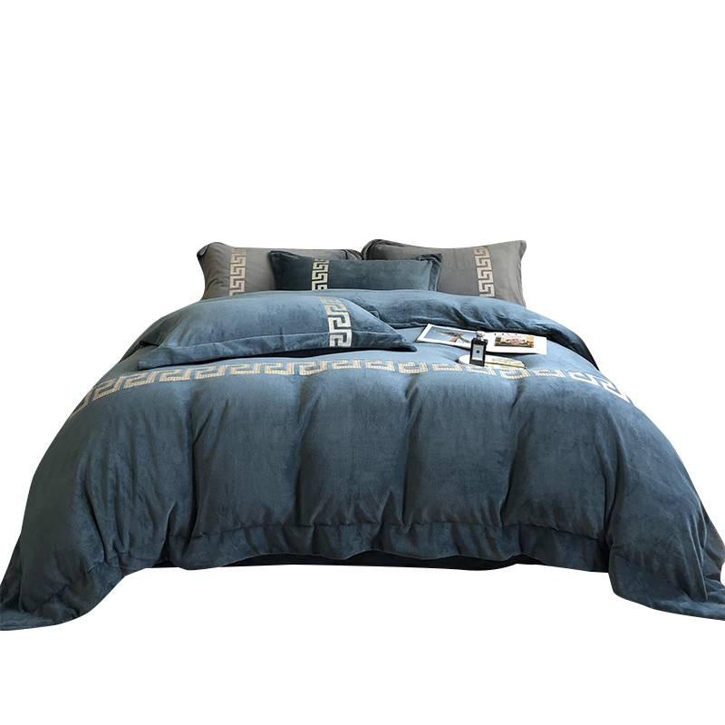 &高级加厚双面牛奶珊瑚绒床上四件套冬天法兰加绒被套床单冬季床