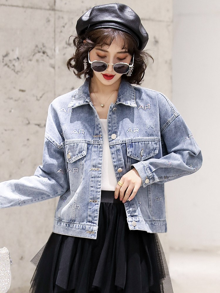 Sequin letter Denim Jacket Womens fashion 2021 spring new small Korean versatile short student jacket
