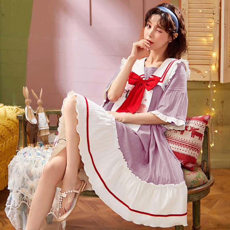 Nightdress women Summer Cotton lovely girl thin simple loose skirt summer womens pajamas home clothes can be worn outside