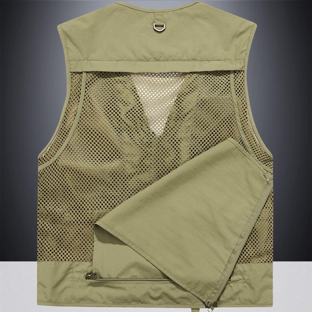 Mens Vest 2021 new loose large jacket fishing mesh vest sleeveless Camisole