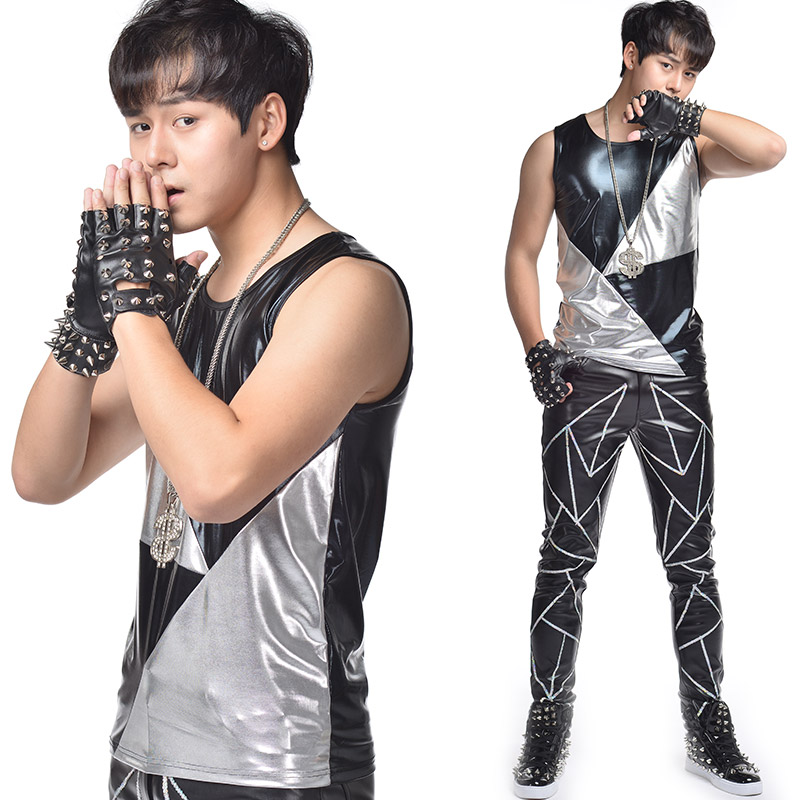 Authentic bar and nightclub trendy male singers performance dress stage dress customized black and white stitched perforated leather vest