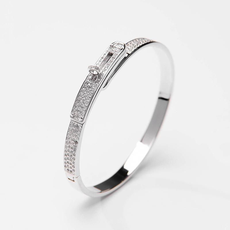 Genuine 925925 silver jewelry Ruili shining Korean design versatile urban charm full Diamond Silver Bracelet Adjustable