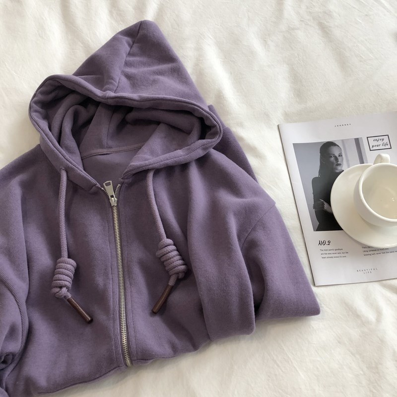 Elegant purple and white. Spring and autumn loose and thin soft glutinous rice woolen zipper hooded sweater womens cardigan coat