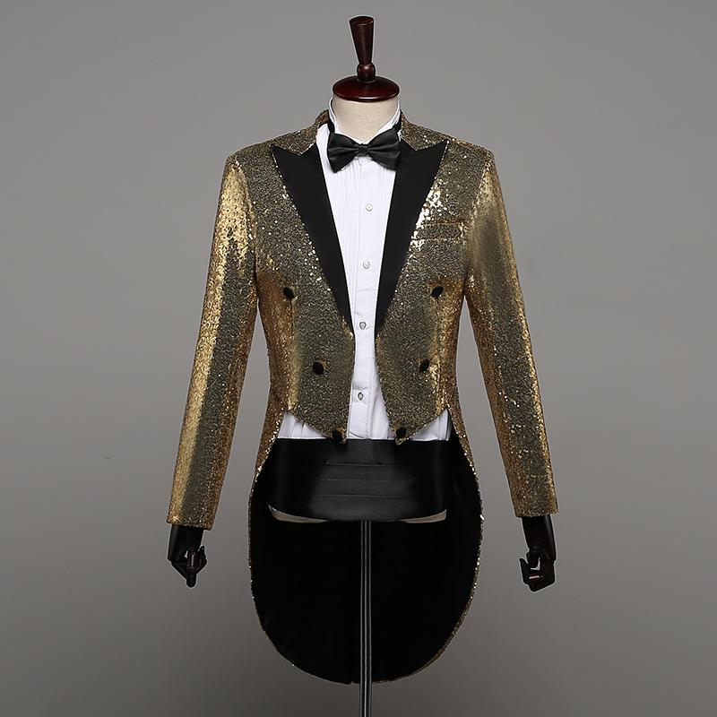 Authentic tuxedo boys sequins stage performance dress magician coat nightclub host chorus finger