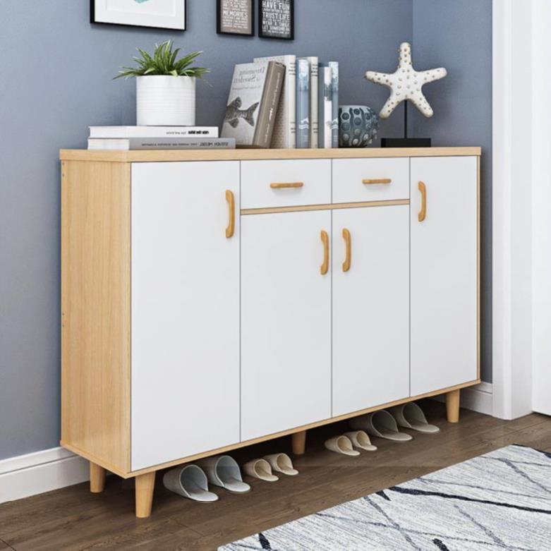 Three door closed board shoe rack storage cabinet, multi-layer ecological board shoe cabinet, single solid wood, single door sandal storage.