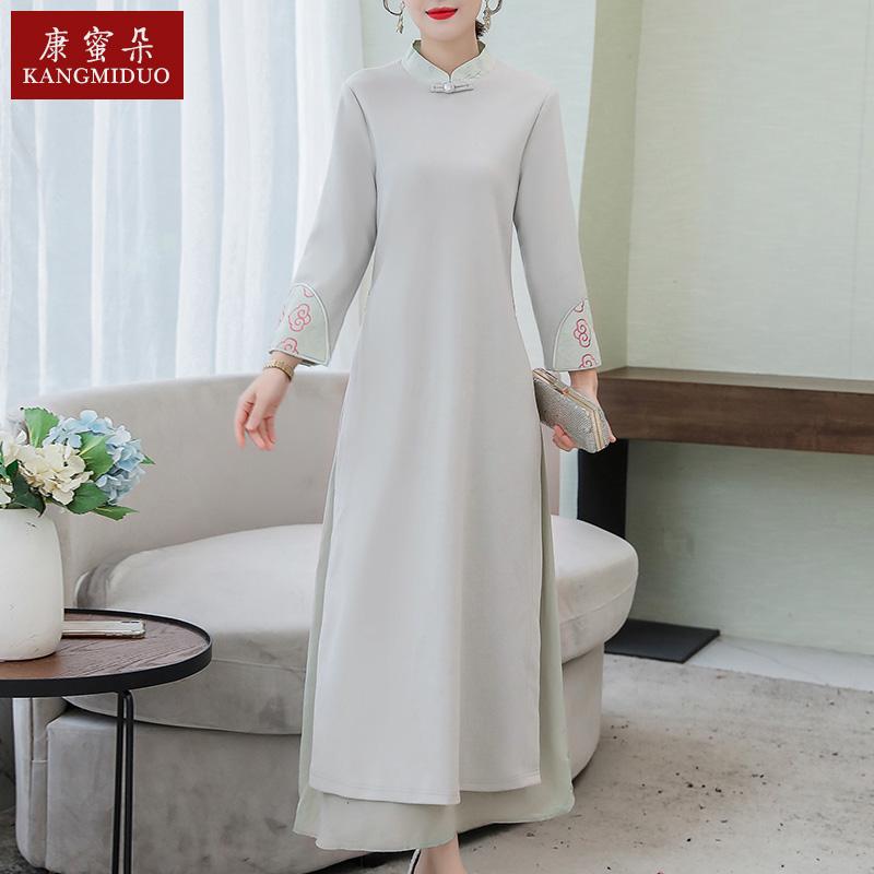 中国风汉贵改良唐裙旗袍连衣装女高端洋气中年妈妈民族Z风高服长