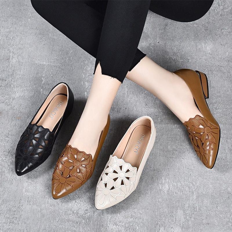 真皮缕空鞋子女2021年春夏季新款高跟鞋低跟小皮鞋粗跟一脚蹬女鞋