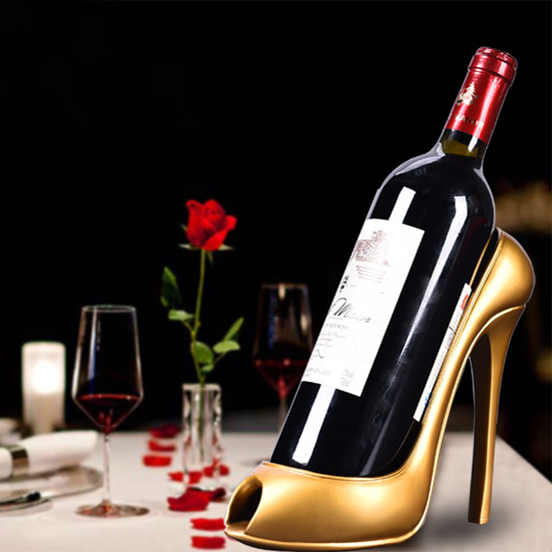 Simple red wine rack, high-heeled shoes decoration, living room wine cabinet, bar counter, wine bottle shelf decoration, creative personality, black brother