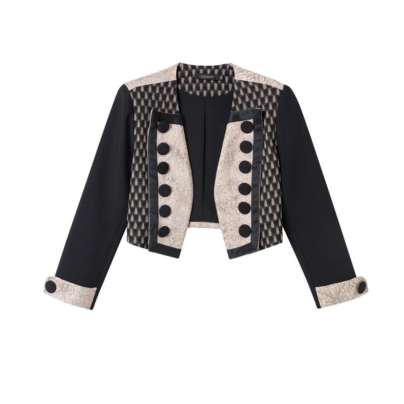 复古法式2021秋季新款双排扣拼接撞色短外套宽松廓形军装风女上衣