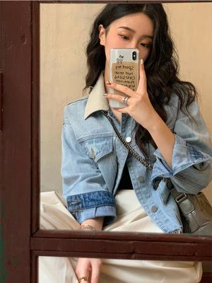 任小艺蓝色短款牛仔外套女韩版宽松春秋2021年新款早秋上衣设计感