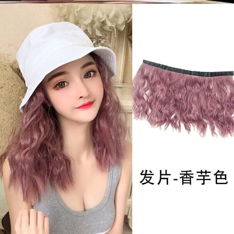 渔夫帽发帽一体短卷发春夏帽子带假发短发可拆卸流中长发女时尚