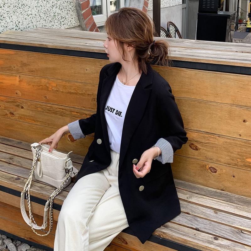 2021春秋新款黑色小西装外套小个子条纹撞色拼接设计感小众西服女