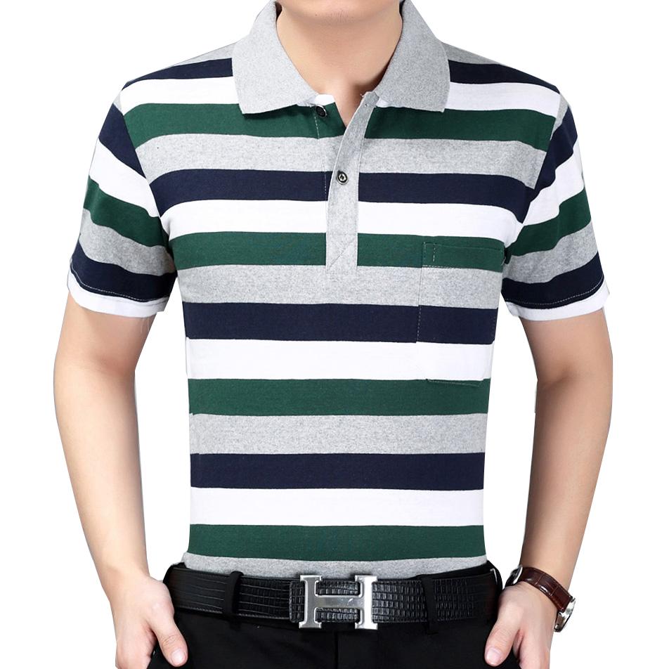 夏季中年男士短袖T恤翻领条纹T恤宽松大码休闲爸爸装条纹POLO衫