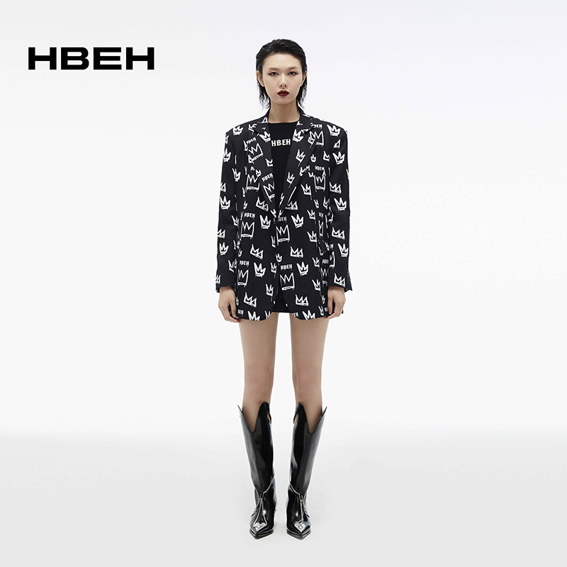 Hbeh huiwenlong 2021 new crown print loose silhouette suit