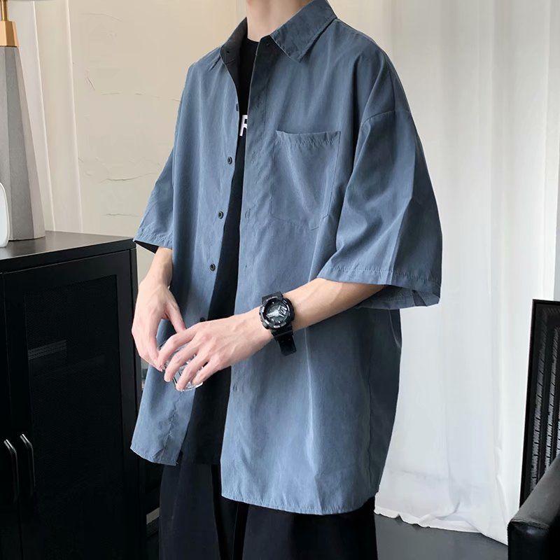 五分袖衬衫男港风日系复古夏季短袖上衣韩版宽松潮流ins百搭衬衣