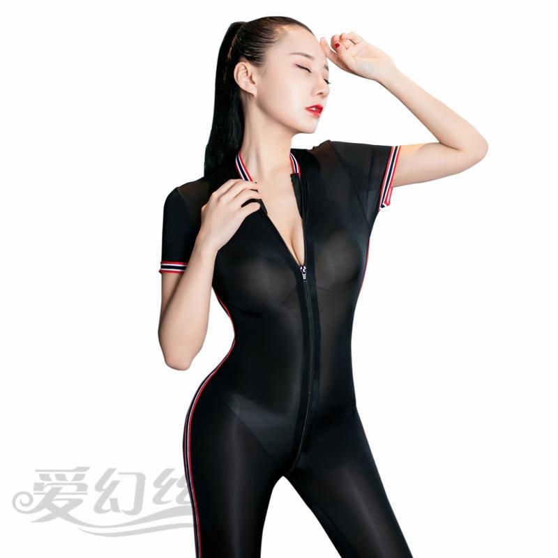 2021瑜伽运动紧身衣女生连身衣体操健美操运动装双拉链连身衣长袖