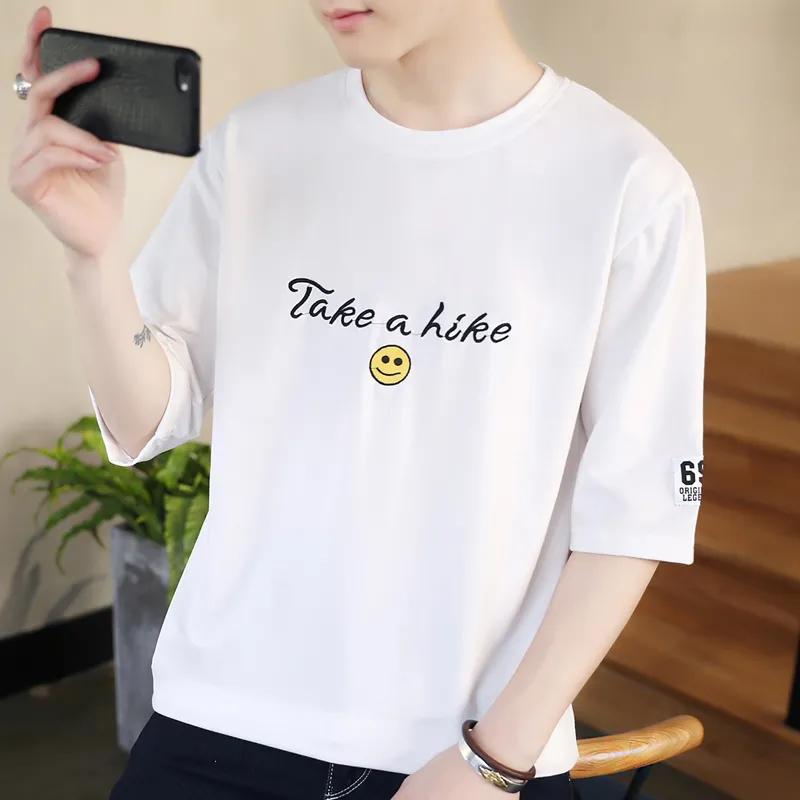 夏装短袖t恤男韩版圆领七分袖上衣休闲打底衫学生五分袖衣服