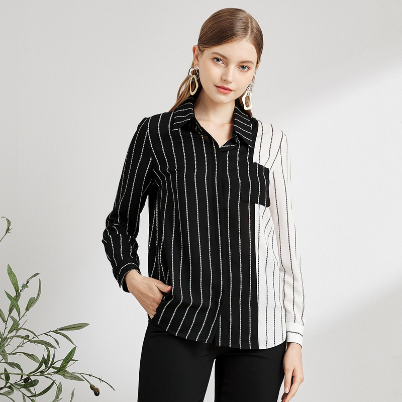 Naersiling enling womens black and white contrast stripe stitching Shirt Long Sleeve Top Shirt spring 2020 NEW
