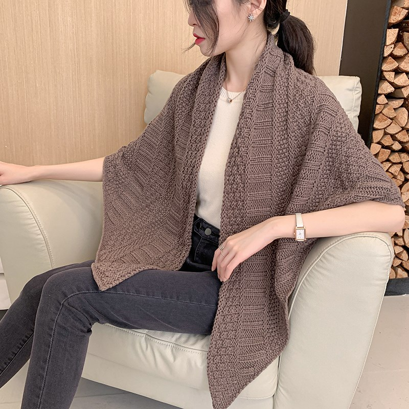 Korean knitting wool triangular scarf scarf womens thickened warm shawl in winter and dual-purpose scarf fake 20 in autumn