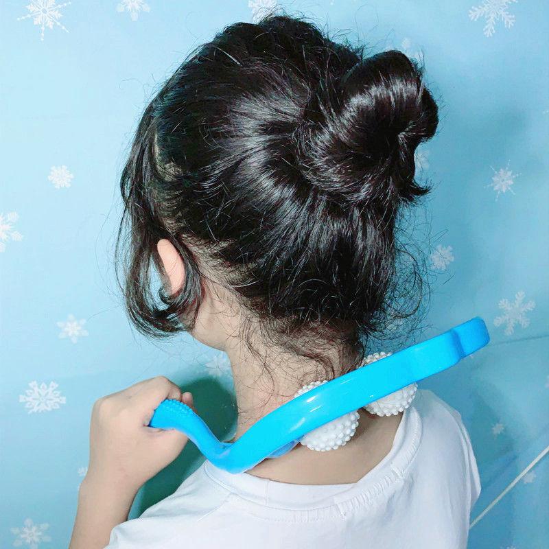 手持颈部按摩器夹脖子小神器颈椎按摩器手动肩颈疏通仪按摩滚轮式