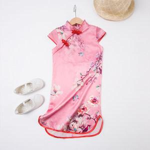 女童真丝旗袍儿童汉服女宝宝唐装小女孩中国风童装过年夏季连衣裙