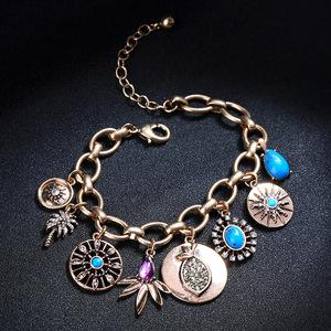 恶魔之眼水滴几何镶钻女欧美风潮流时尚手饰在逃公主多巴胺手链。