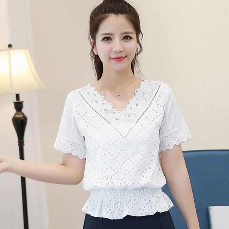 蕾丝衫长袖秋装白色裙摆荷叶边小衫