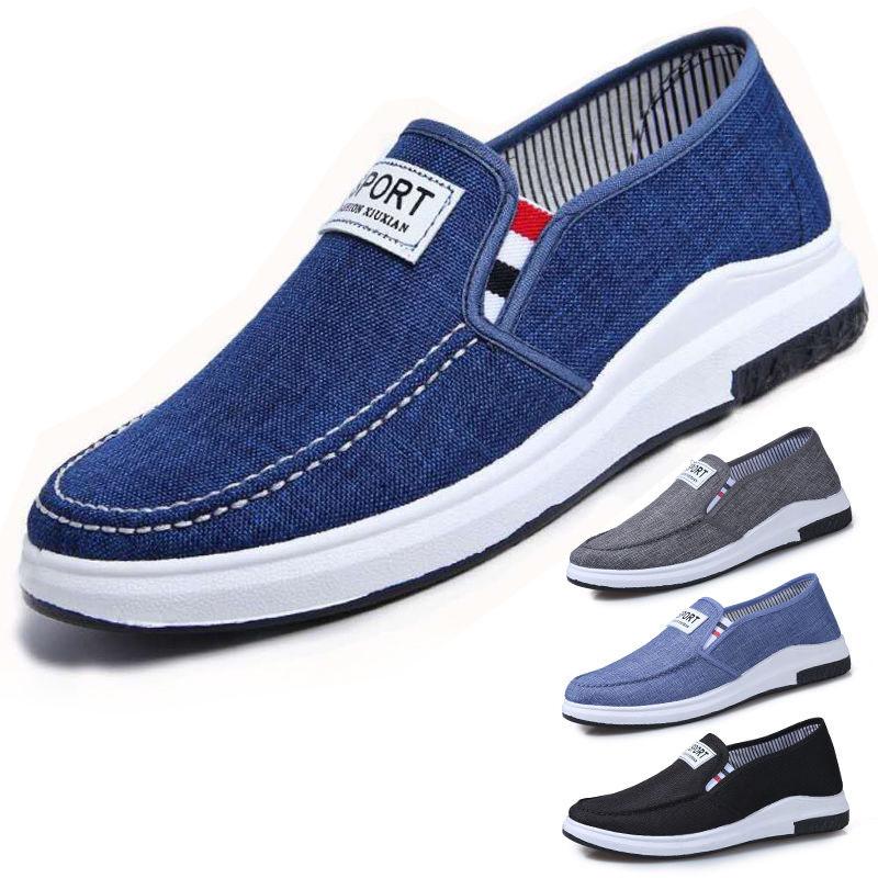 新款老北京男牛仔帆布鞋一脚蹬男鞋