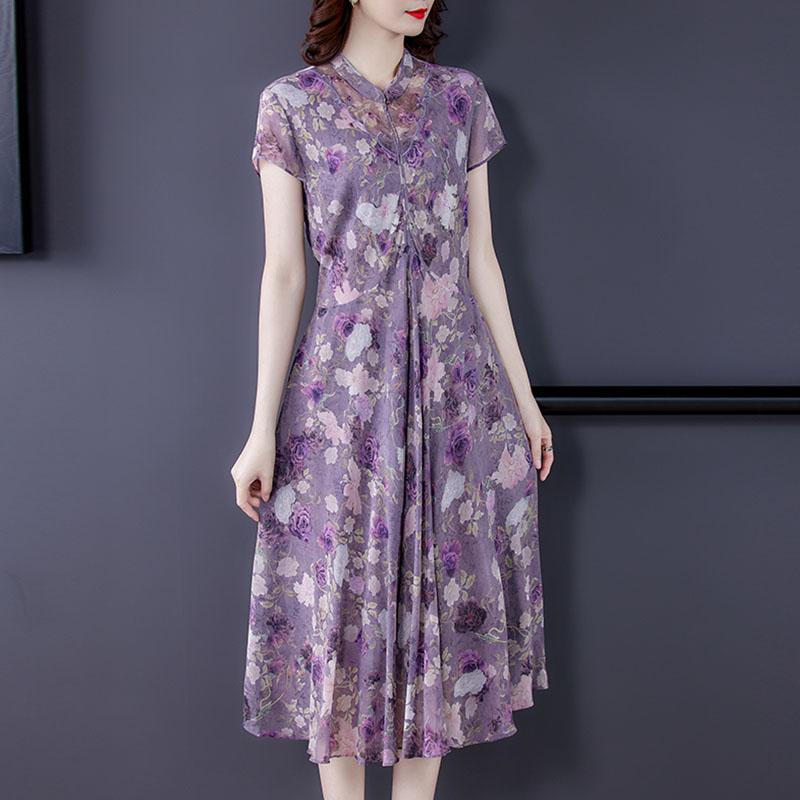 改良旗袍裙0e21年新款连衣装唐装中国风中式女2民族风碎花裙中长