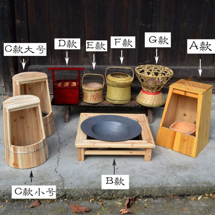 村烤火竹木木火桶家用木炭老式火桶可坐盆取暖器烧烤盆火桶烧炭