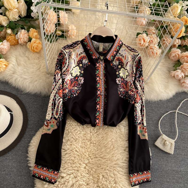 Bohemian retro court style top womens Lapel long a sleeve loose and thin versatile holiday shirt