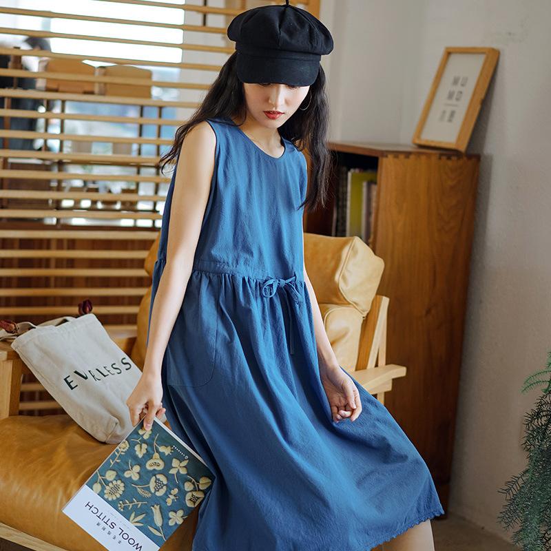 Qimei brand womens sleeveless dress summer 2020 new womens loose waist lace skirt summer long skirt