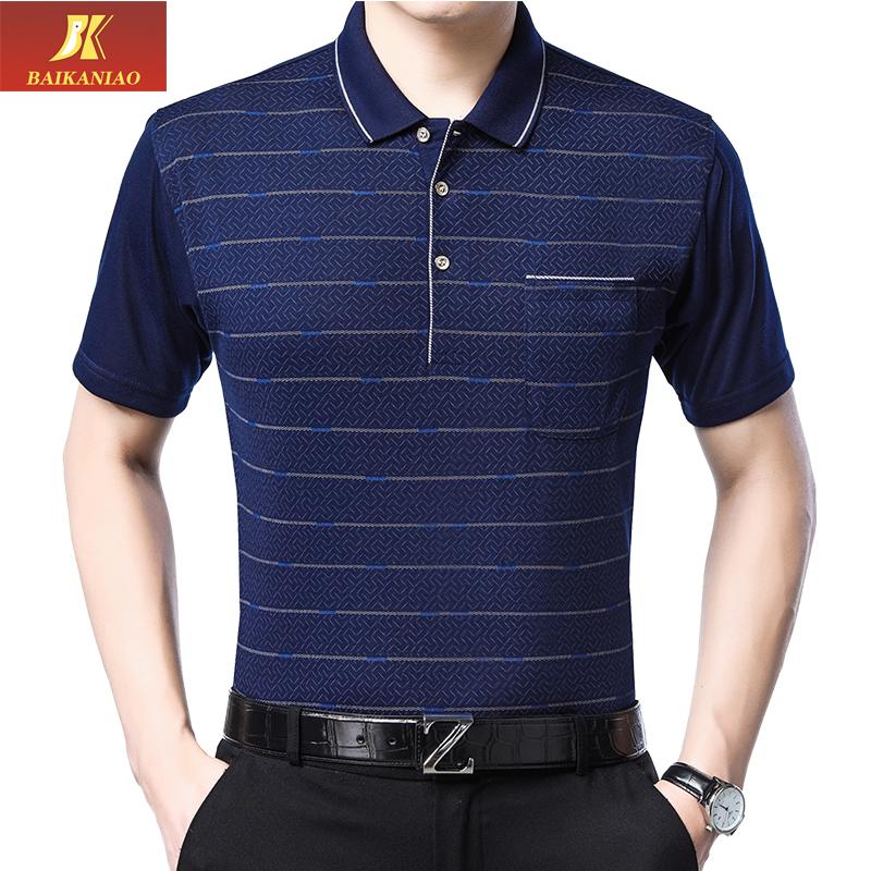爸爸短袖t恤中年男子夏装40-50中老年男人休闲薄款棉质条纹半袖衫