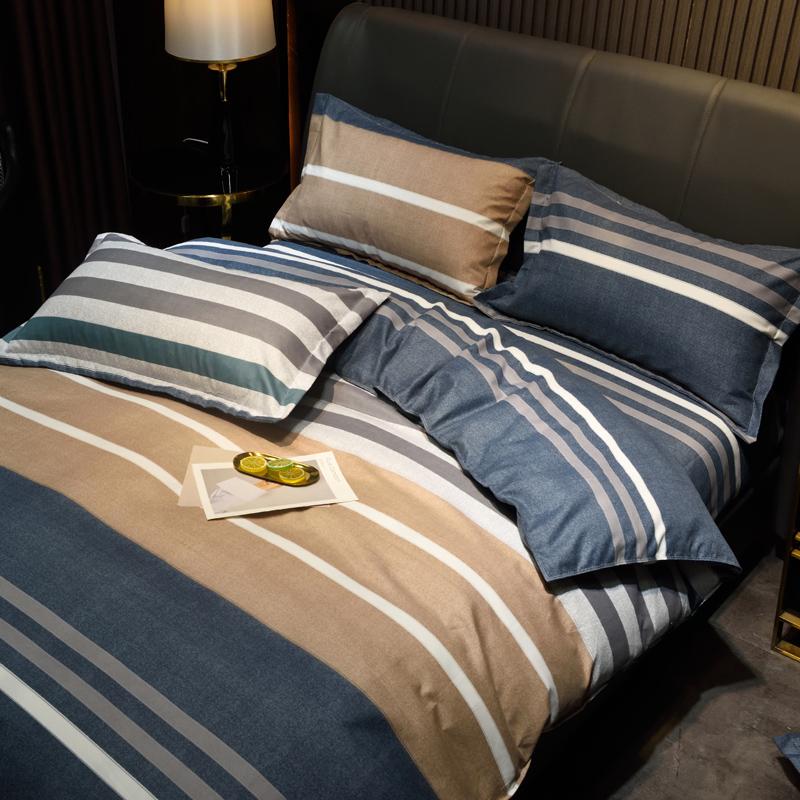 北欧ins风床上四件套100全棉纯棉简约条纹男士床单被套床品4套件