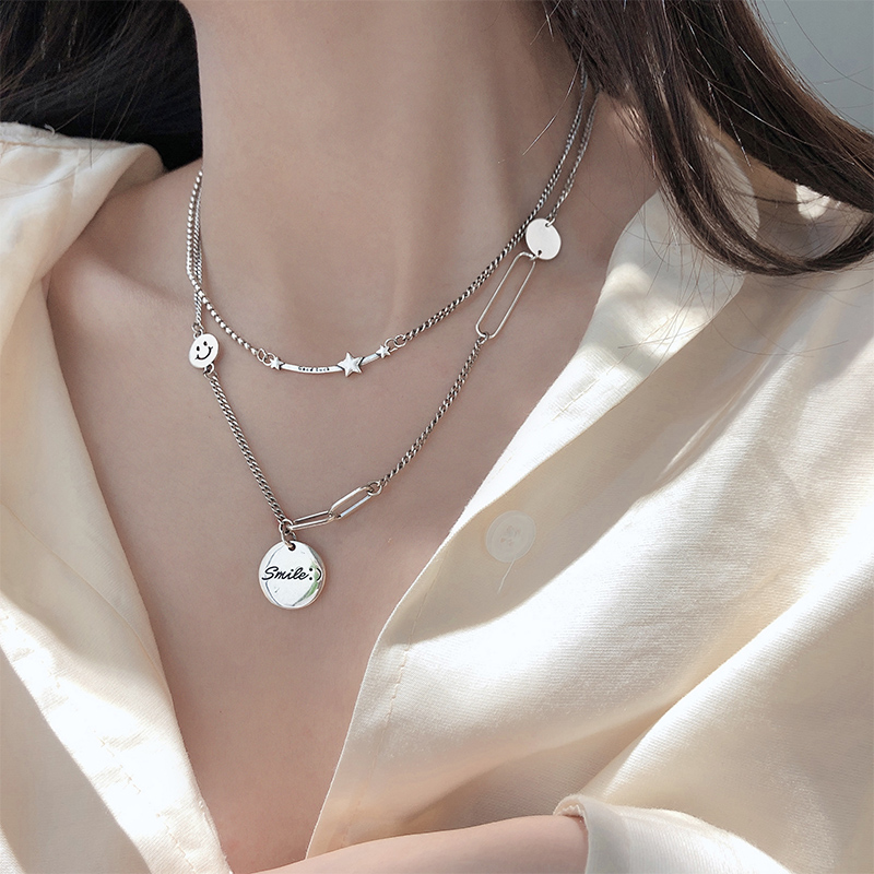 Xiaobao s9a25 Sterling Silver Star smiling face thick Necklace female Thai silver retro round brand clavicle chain light luxury silver jewelry
