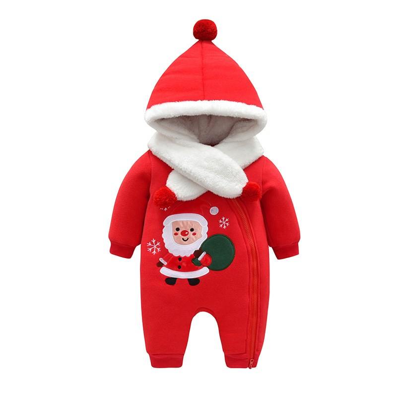 Baby clothes, Christmas Sweater, hat, three-layer cotton jacket, Santa Claus embroidered jumpsuit, babys going out clothes