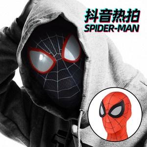 抖音蜘蛛侠头套眼睛可动成人儿童超凡黑色蜘蛛侠搞怪死侍面具面罩