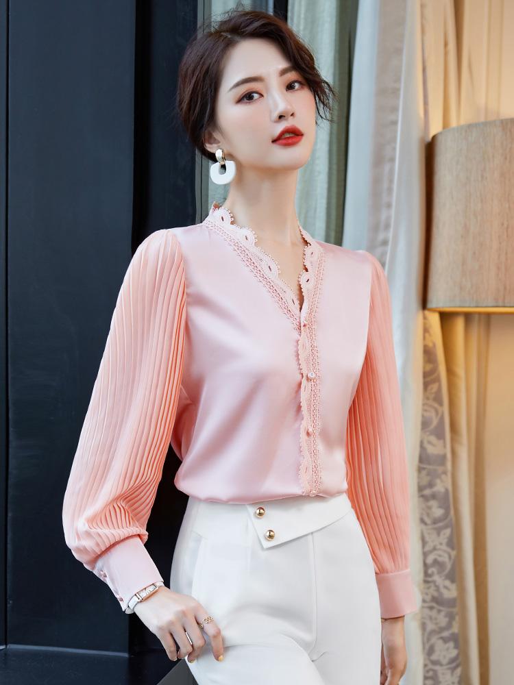 粉色雪纺衬衫女设计感小众洋气上衣蕾丝灯笼袖秋季泡泡袖长袖衬衣