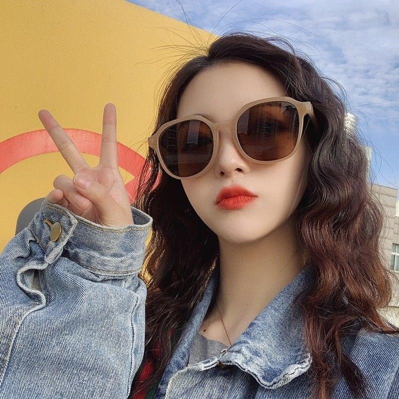 Sunglasses Womens new fashion milk tea color anti ultraviolet net red brown RETRO SUNGLASSES in 2021