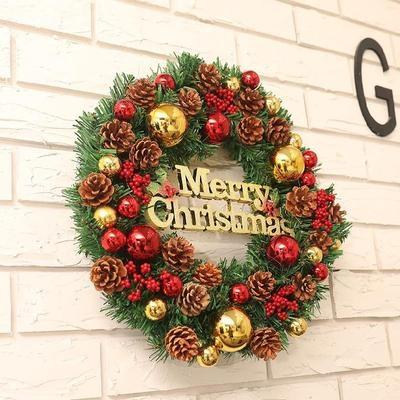 圆环背景庆花环门藤条挂40cm圣诞装饰品礼品。60cm复古花圈圣诞店