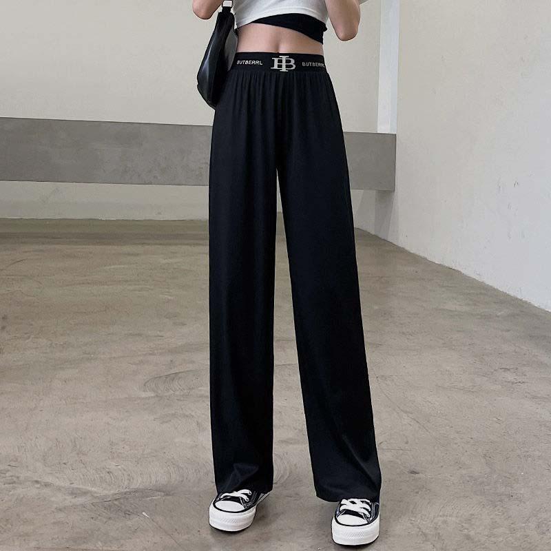 冰丝阔腿裤子女2021新款夏季薄款宽松显瘦黑色直筒休闲裤学生韩版