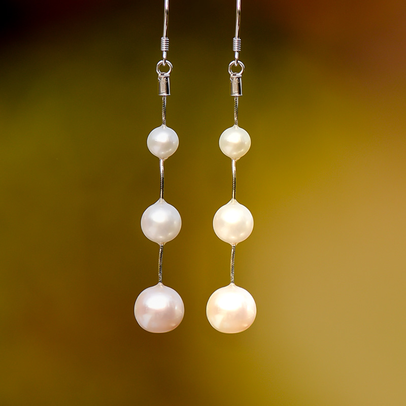 Reminiscent of nujiao Camilla S925 silver jewelry, natural pearl earrings, earrings, elegant temperament, earrings, womens daily simplicity