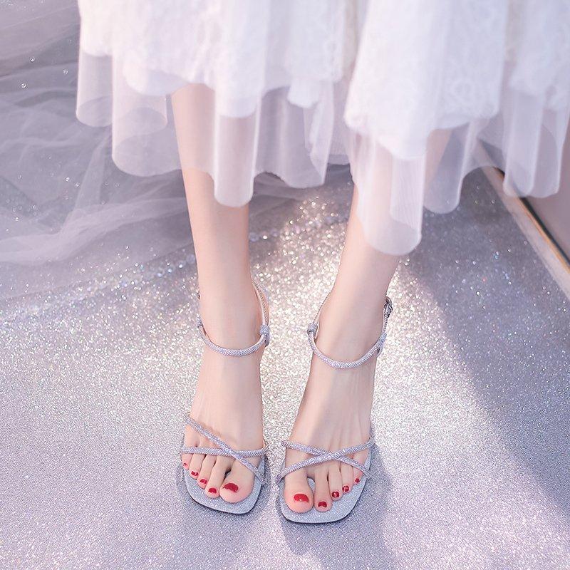 潮凉鞋细跟配年露趾新款性感2021水钻风仙女百搭裙子少女高跟合适