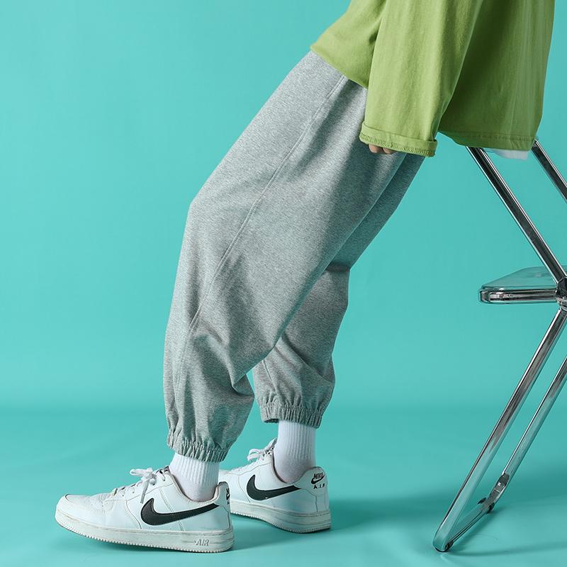 暖沐运动纯色小脚裤休闲裤时尚男水洗卫裤