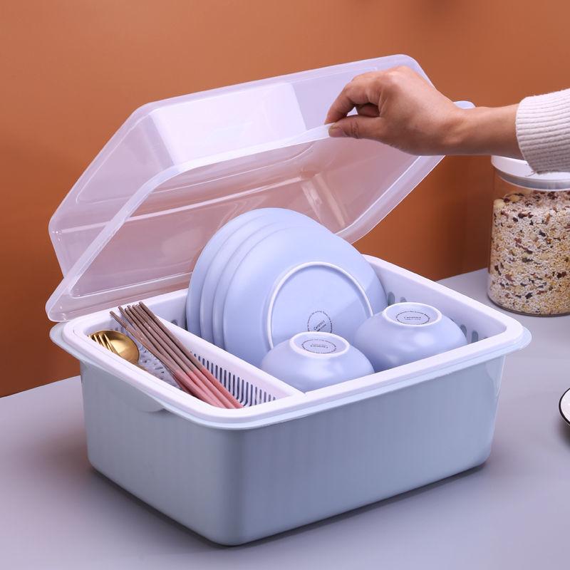 厨房碗筷收纳盒放碗碟塑料碗柜沥水碗架家用收纳箱带盖餐具置物架