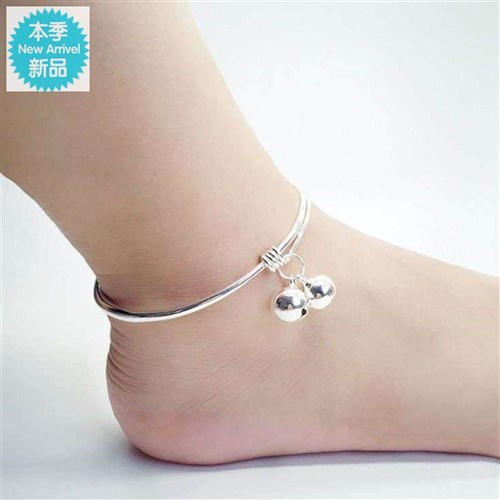 New Bracelet simple girls bell Korean version small smooth face fashion fresh foot ring Anklet temperament silver versatile