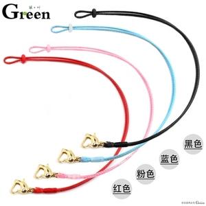(金色扣)可穿小孔转运珠硬金饰品蜡皮绳手链男女款本命年红手绳